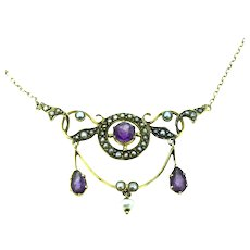 Edwardian 9CT Amethyst Seed Pearls Necklace Extraordinary c.1901