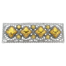 Art Deco Yellow Glass Filigree Costume Brooch Pin Authentic 1930