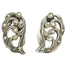 Vintage 925 Marcasite Earrings Clip On Closure Divine Design
