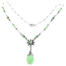 Arts And Crafts Green Glass Necklace Costume Metal