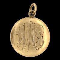 Edwardian Monogram Locket Pendant Gold Shell Hallmarks