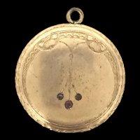 Edwardian Embossed Rolled Gold Garnet Pendant