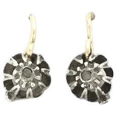 Georgian Mined Diamond Silver Earrings Gold 9CT Ear Hook Wires