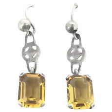 Art Deco Style Earrings Citrine Paste Silver 800 Drop Pierced