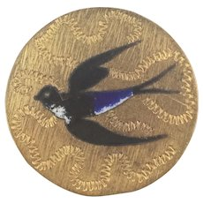 French Art Nouveau Brooch Pin Gilt Embossed Hand Painted Bird