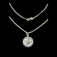 Victorian Aesthetic Silver Pendant Textured Flowers Gold 9CT Figaro Chain