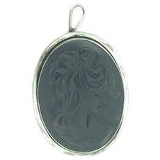 Italian Lava Cameo Pendant Silver 800 Hallmarked Elegantly Simple
