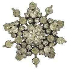 Retro Starburst Brooch Pin Costume Back Foiled Glass Stones Exuberant