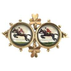 Edwardian Essex Crystal Lucky Jump Jockey Shamrocks Gold 9CT Brooch Pin