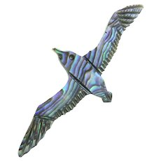 Vintage Carved Abalone Shell Brooch Flying Bird