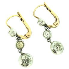 Dormeuse Trembleuse Gold and Silver Plated Earrings Paste Stones