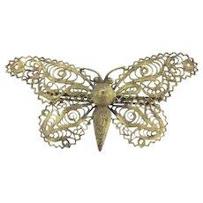 Exuberant Butterfly Filigree Brooch Gilt c.1930