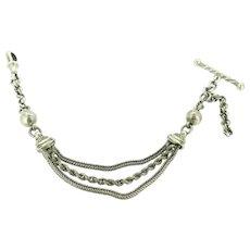 Antique Solid Silver Watch Chain T Clasp Dog Clip Hallmarked Bracelet