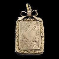 Victorian Style 9CT Gold Cased Aesthetic Pendant Locket Bow Heart