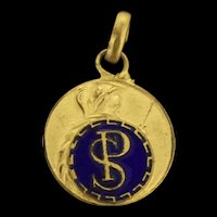 French Enamelled Gilt Pendant Depicting Soldier And Sword