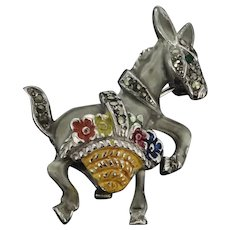 Vintage Costume Enamelled Donkey Brooch Pin Marcasite Stones