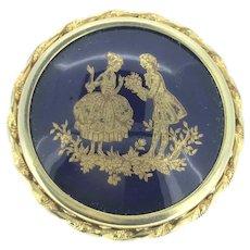 Mid Century Limoges Porcelain La Reine France Gilt Brooch Pin