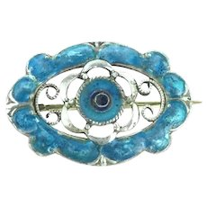 Art Nouveau Silver 935 Enamelled Brooch Pin Small Adorable Hallmarked