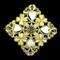 Art Nouveau Sapphiret Brooch Pin Hearts Shamrocks Rare