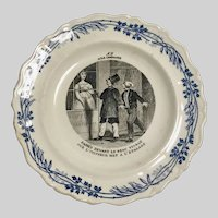 French Naughty Plate Transfer Ware