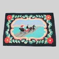 Bright Carriage Hooked Rug