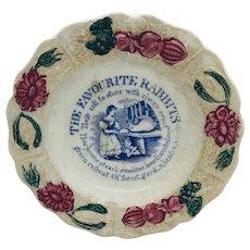 Rare Transfer Ware Child's Plate Rabbits