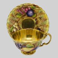 Aynsley Orchard Fruit Gold Teacup & Saucer
