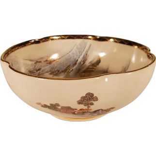 Vintage Asian Porcelain Bowl With Snowy Mountain Scene & Gold Accents
