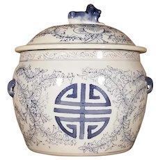 Vintage Chinese Blue & White Porcelain Jar w/Foo Dog Tie Down Lid