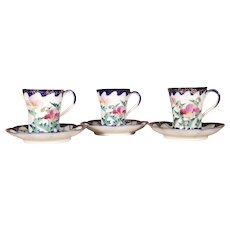 Set of 3 Vintage Blue & White Cups and Saucers w/Symbol on Bottom- Japan
