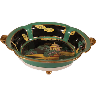 Vintage Noritake Porcelain Green Footed Bowl With Gold Accents