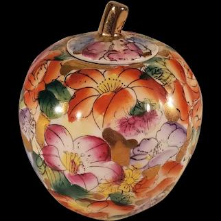 Vintage Porcelain Apple Shaped Ginger Jar with Lid & Colorful Flowers