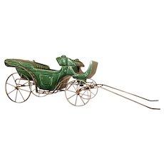 Vintage Green Porcelain Carriage Planter With Metal Frame