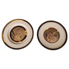 Two (2) Japanese Gold & Silver Gilded Plates - Art of Chokin - Hummingbird