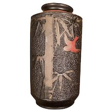 Antique Black Ceramic Hand Painted Japanese Vase - 1920 to 1930