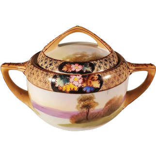 Vintage Nippon Porcelain Lidded Sugar Bowl With Flowers & Country Scene