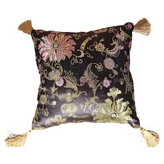 """Small 8"""" Asian Black Silk Pillow With Flowers & Gold Accents/Tassels"""
