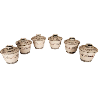 6 Japanese Porcelain Lidded Rice Bowls - White With Blue Flowers & Branches