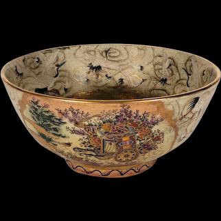 Vintage Japanese Satsuma Bowl Hand Painted Flowers, Birds Gold Gilded