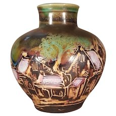 """9 1/2"""" Vietnamese Round Pottery Vase - Wintery Village Signed by Vu Thang - Rare"""
