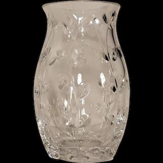 "Tiffany & Co. Floral Vine Crystal Tulip Vase 9"""