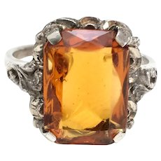 Arts and Crafts Silver Simulated Citrine French Cocktail ring