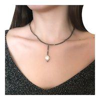 925 Sterling Silver Pearl Marcasite Necklace