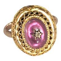 Victorian 15K Gold Ring Pink Tourmaline Ring