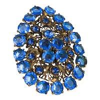 Stunning Arts and Craft Simulated Sapphire  Brooch