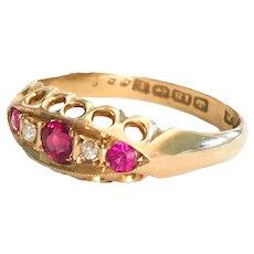 Antique Ruby Diamond 18K gold Ring Size 7 3/4