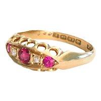 Antique Ruby Pink Topaz Diamond 18K gold Ring Size 7 3/4