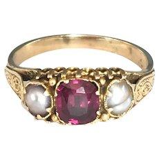 Georgian 14k Gold Pearl Garnet ring