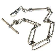 Antique Chain 925 Sterling silver Trombone Link Chain Love Knots Link Chain Victorian Albert Chain