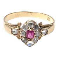 Victorian Rose Cut Diamond Topaz Ring size 5 1/4